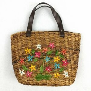 Harold Powell Woven Straw Floral Tote